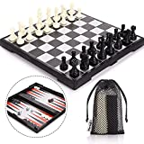 Peradix Chess Set 3 in 1 Multifunctional MagneticTravel Chess Boards Game Sets Kids Adults - Come Chess Draughts Backgammon Set 30.5 x 30.5 CM