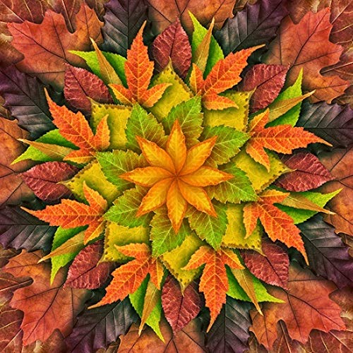 - Dream Big Leaves - Autumn - Digital Panel -Large Flora - r4617-66 l -by Hoffman Fabrics