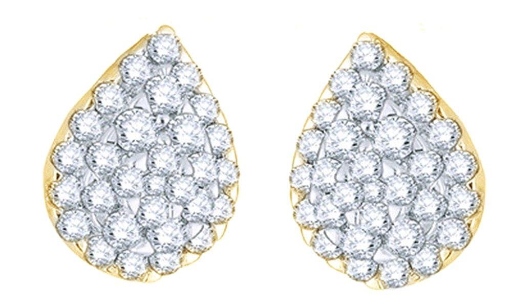 Weißszlig;, Tropfen-Ohrringe 14 Karat 585 Weißszlig;Gold Diamant (2 Karat) 14 Karat (585) GelbGold