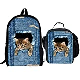 HUGS IDEA 2 Pieces Teen Girl School Backpack Lunch Bag Cowboy Cat Pattern Boolkbags for Children Kids