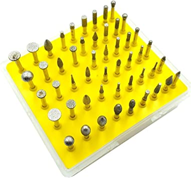 Lukcase 50pcs Diamond Coated Grinding Head Grinding Burrs Set for Dremel Rotary Tool Small Head Style
