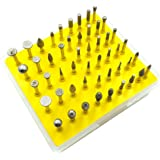DerBlue 50-Piece 1/8-Inch Shank Diamond Coated Rotary Burrs Set Fits Dremel Rotary Tools,Diamond Burr Set for Jewelry,Glass,Stone,Ceramic,Gemstones Lapidary (Small Head Style)