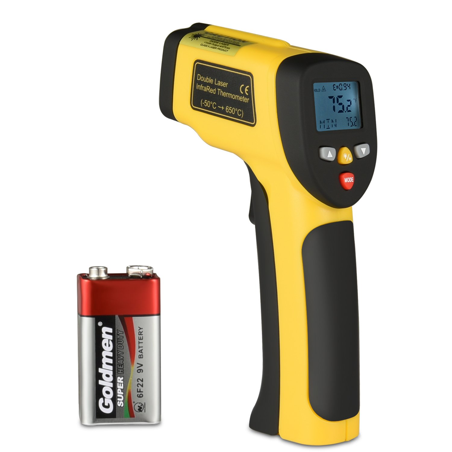Infrared Thermometer Dual Laser Thermometer Temperature Gun Non-contact Surface IR Thermometer with Adjustable Emissivity -58°F to 1202°F Instant Read Digital Thermometer, Battery Included (Orange)