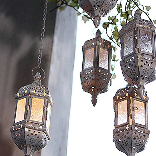 Moroccan Vintage Metal Hollow Wedding Hanging Candle Holders Lantern| Contain 40cm Chain (white) - White Metal Chandelier Candle Holder