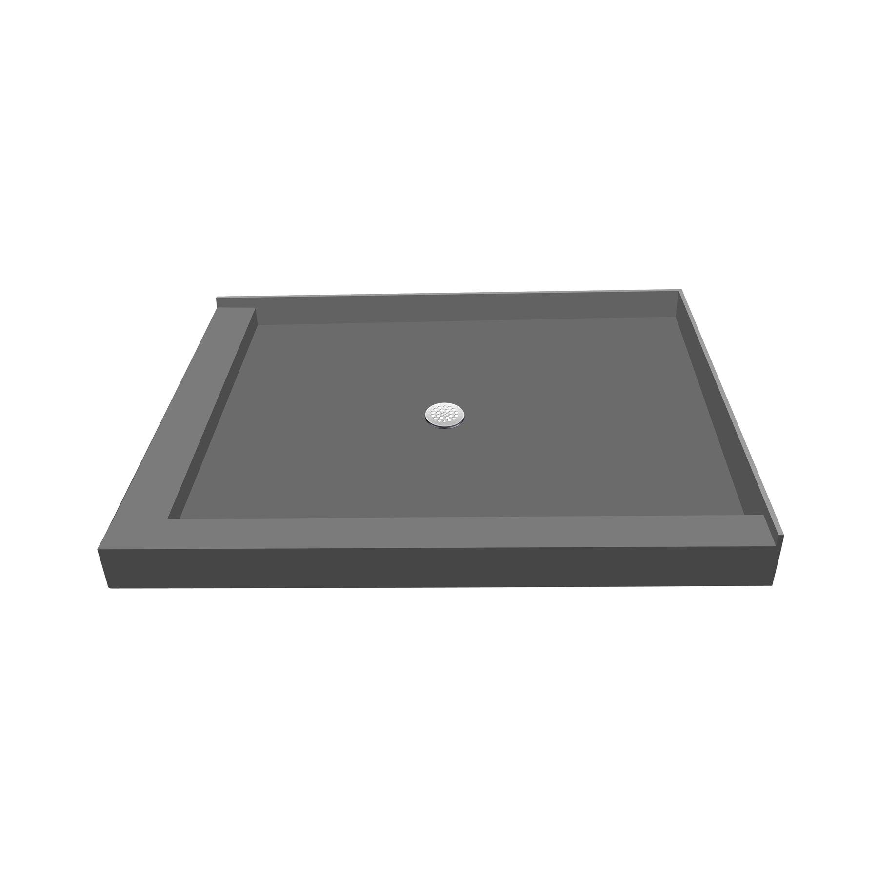 Tile Redi USA P3648CDL-PVC Redi Base Shower Pan with Center Drain & Left Dual Curb, 36'' D x 48'' W