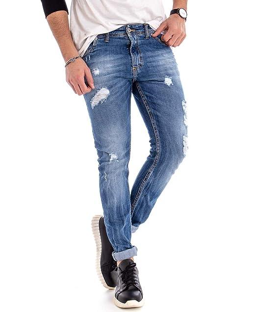 Jeans Uomo Pantalone Denim Rotture Cinque Tasche Rotture Casual GIOSAL