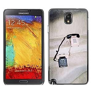 FECELL CITY // Duro Aluminio Pegatina PC Caso decorativo Funda Carcasa de Protección para Samsung Note 3 N9000 N9002 N9005 // Vintage Phones Cute Love Couple Sharing