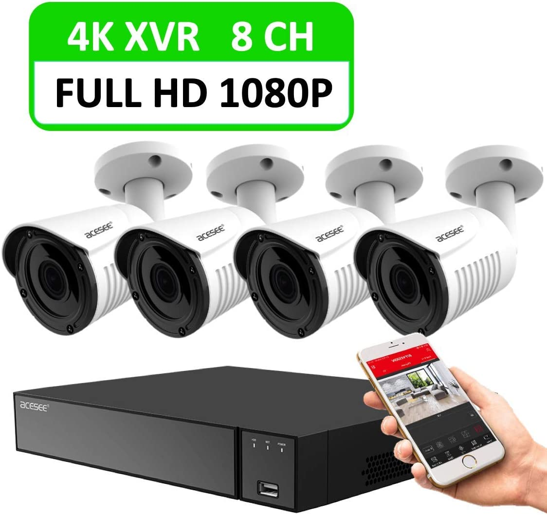 1080P Security Home Camera, ACESEE 8CH Surveillance System 4 1080P HD Wired Indoor Outdoor Waterproof CCTV Cameras 100ft Day Night Vision Motion Alert with Easy Remote Access NO HDD