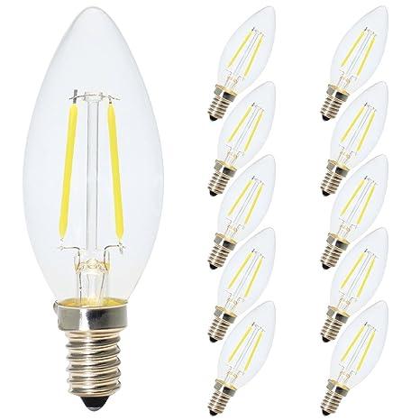 10X E14 Filamento LED Bombillas 2W 180 lm Edison Bombilla LED de Casquillo E14 C35 LED