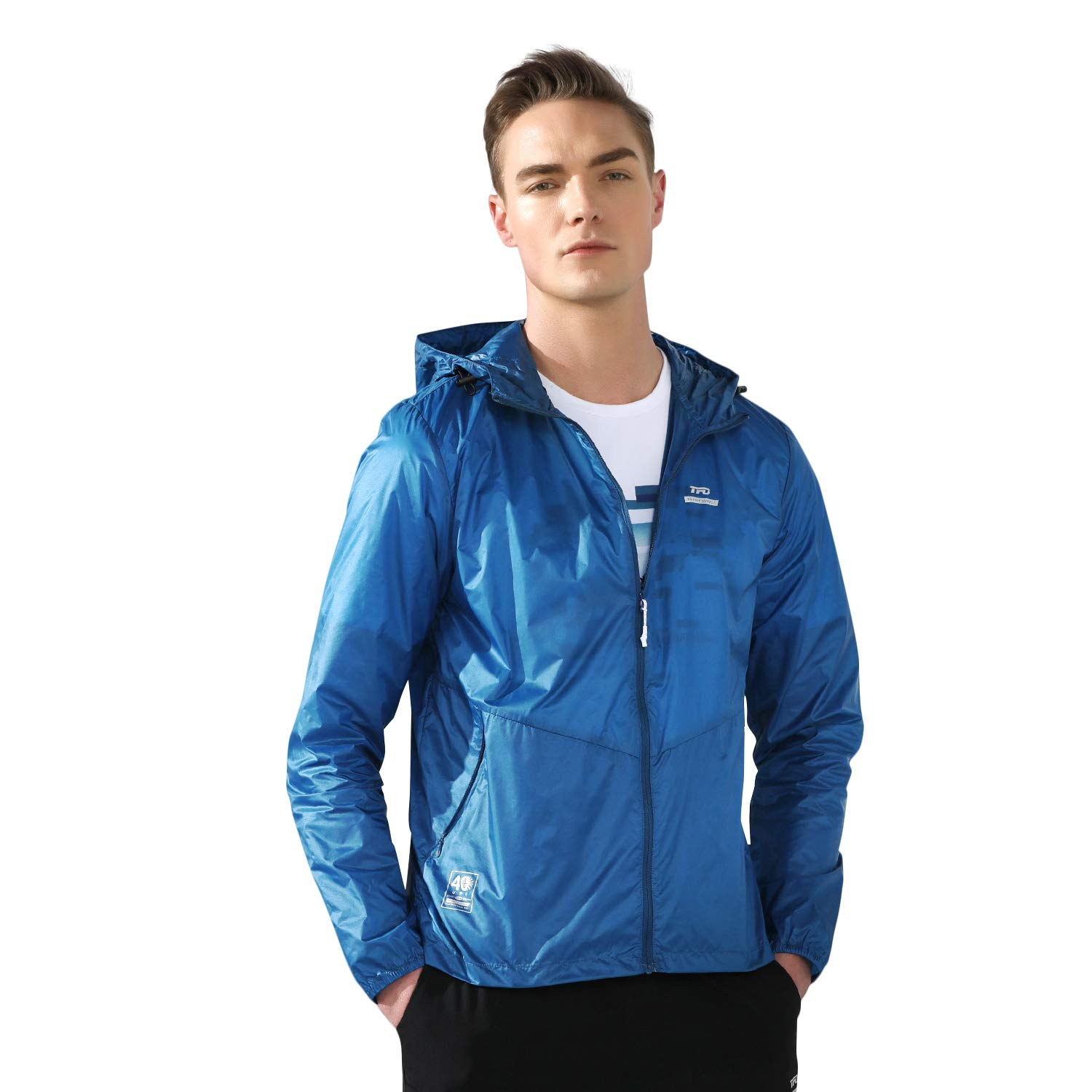 TFO Men's Lightweight UV-Protection Quick-Dry Outdoor Hooded Cycling Hiking Jacket(Blue,M) by TFO