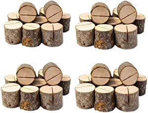 Senover Rustic Wood Table Numbers Holder Wood Place Card Holder Party Wedding Table Name Card Holder Memo Note Card (40pcs)