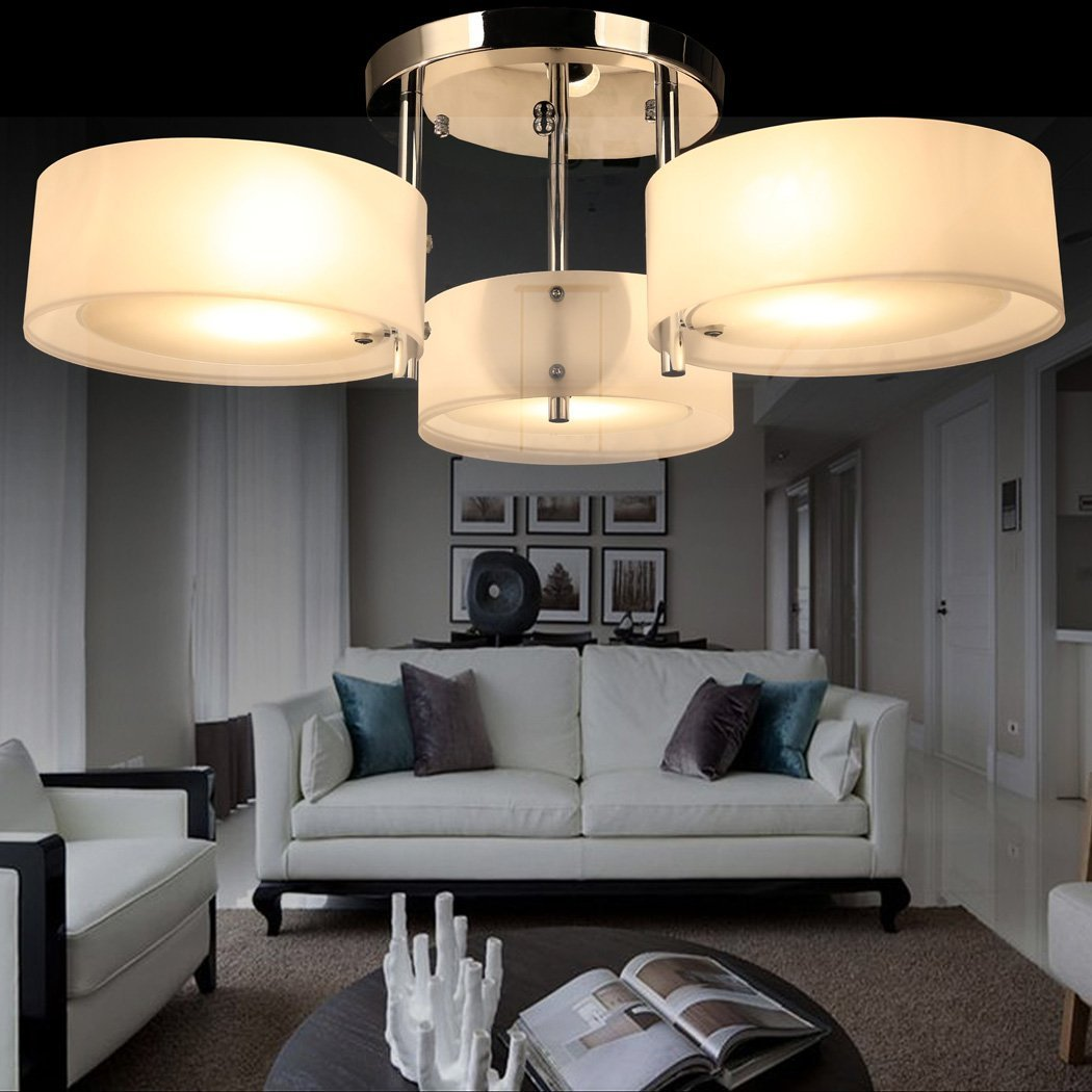 Pesters Modern Crystal Light Acrylic Chandelier, 3 x 40W Flush Mount Chandeliers Ceiling Light Fixture Pendant Lamp for Hallway, Entry, Bedroom, Living Room, Chrome Finish (US STOCK)