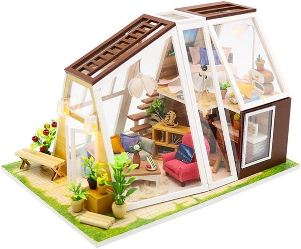 UNU_YAN Mini casa de muñecas de Madera, Kit de artesanía en Miniatura, Muebles de Bricolaje for el Montaje de la Cubierta de Polvo de la casa con luz Colorida de LED cumpleaños