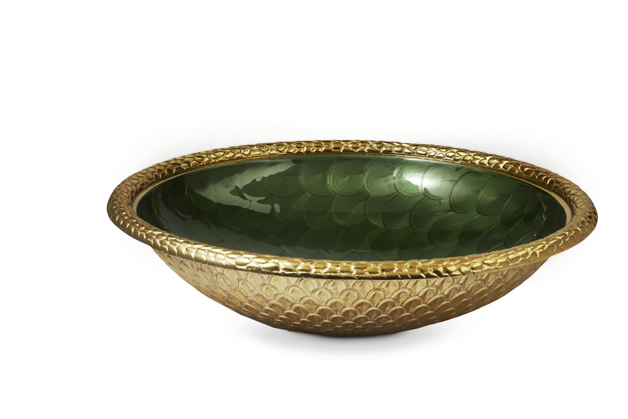 Julia Knight 7230340 Florentine Gold Large Round Bowl One Size Pomegranate