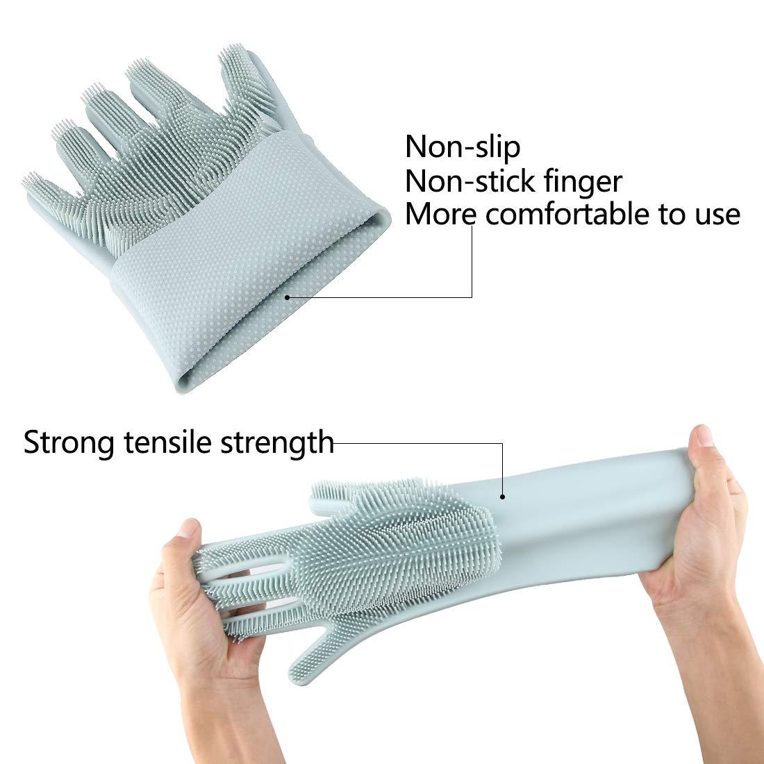 Bamboo Fiber Dishwashing Gloves Anti-oil for Kitchen Cleaning Hanging Gloves