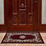 Front Door Mat Welcome Doormat for Home, Indoor, Entrance, Kitchen, Patio, Entry - Waterproof Low Profile Entryway Rug - Natural Jute Backing - Power Loomed in Turkey | 24'' x 36'', Kingdom Burgundy