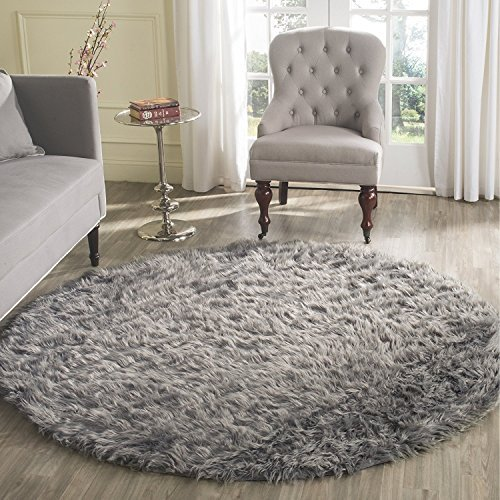 HUAHOO Gray Faux Sheepskin Area Rug Chair Cover Seat Pad Plain Shaggy Area Rugs for Bedroom Sofa Floor Grey (5' Round Desk Rug)