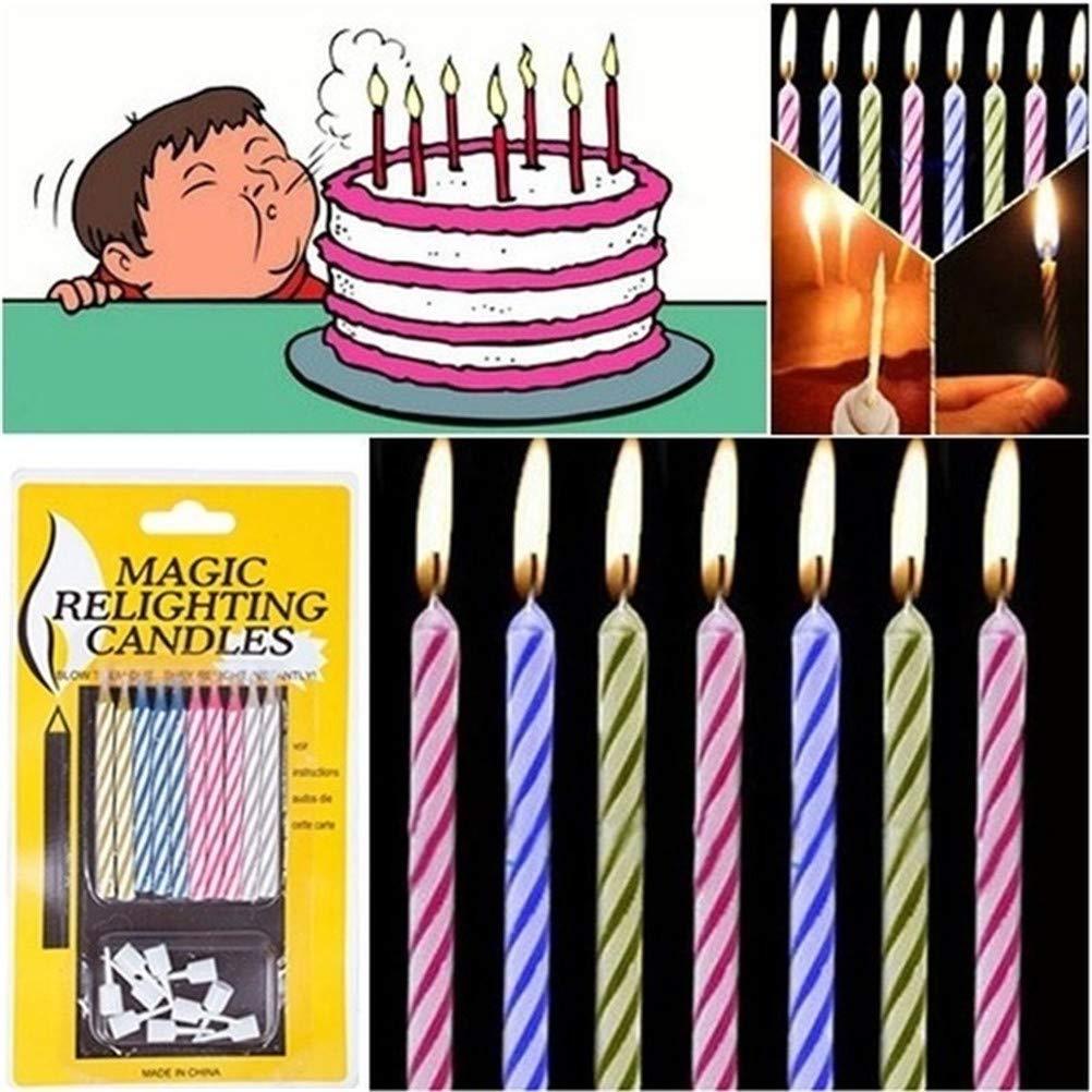Mallalah 10 pcs Divertido Truco de Magia reavivando la Vela cumpleaños Decoraciones de la Torta Broma