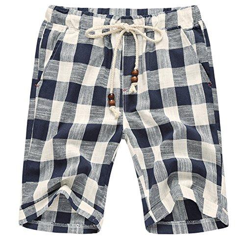 Sandbank Men's Summer Lounge Linen Drawstring Linen Plaid Jogger Beach Shorts (Waistline : 32-33 inch, Blue)