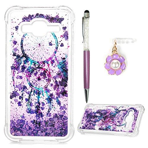Galaxy J3 Case 2016, Galaxy Express Prime Case, Galaxy J3 V/Sky/Amp Prime/Sol Case, Glitter Liquid Cover Sparkle Flowing Love Heart Dream Catcher Drop Resistant Bumper Samsung Galaxy J3 2016 - Purple