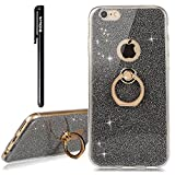 BtDuck iPhone 6 iPhone 6S Case Glitter Soft TPU Silicone Case Finger Grip Ring Stand Holder Phone Protector Shiny Bling Case Clear View Crystal Cover Cute Black for Girls Luxury