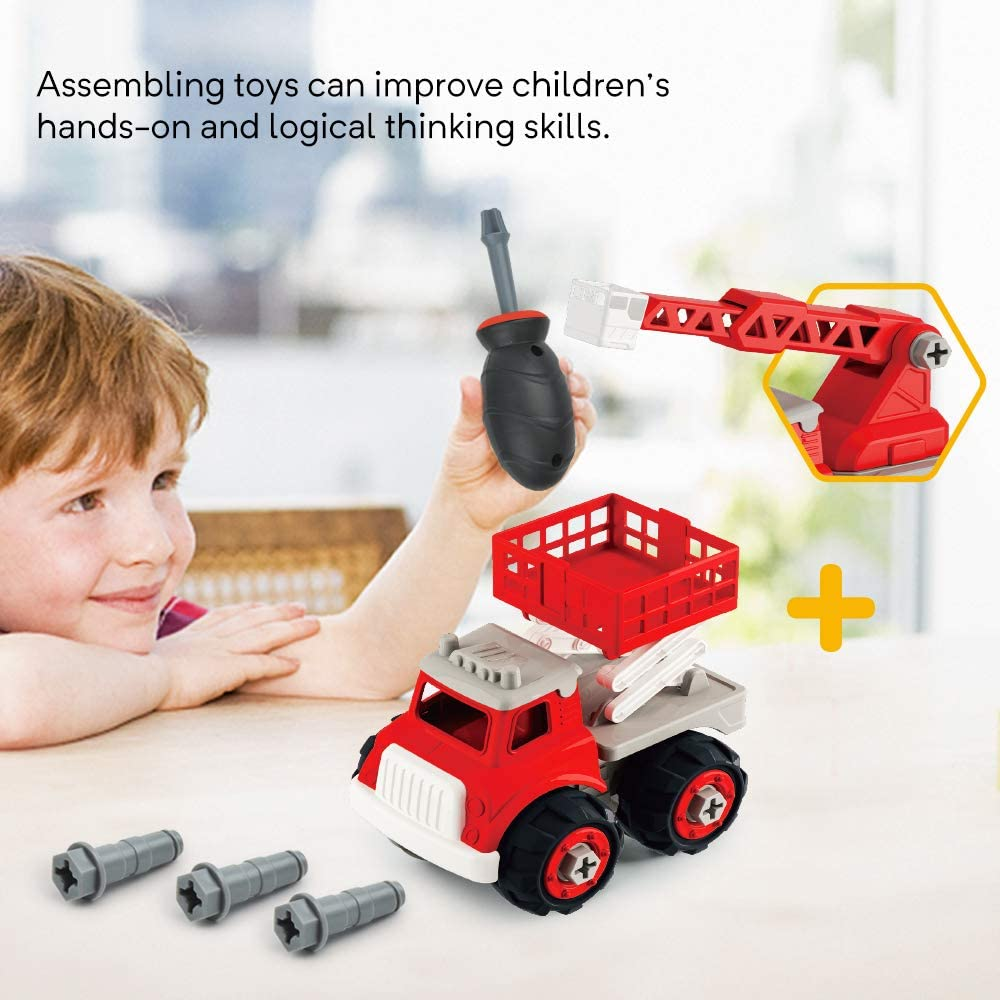 Gizmovine Kids Fire Engine Truck Toys Take Apart Toys for Boys Fire Truck Educational STEM Toys for Toddlers Extending Rescue Rotating Ladder Pull Back Construction Toys Vehicles for Toddlers Boys 4