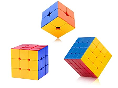 High Speed Stickerless 2x2 , 3x3,& 4x4 Magic Cube Combo Set of 3 Puzzle Brainstorming Game Toy