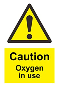 INDIGOS UG - Sticker - Safety - Warning - Caution Oxygen in use Safety Sign - Self Adhesive Sticker 200mm x 150mm