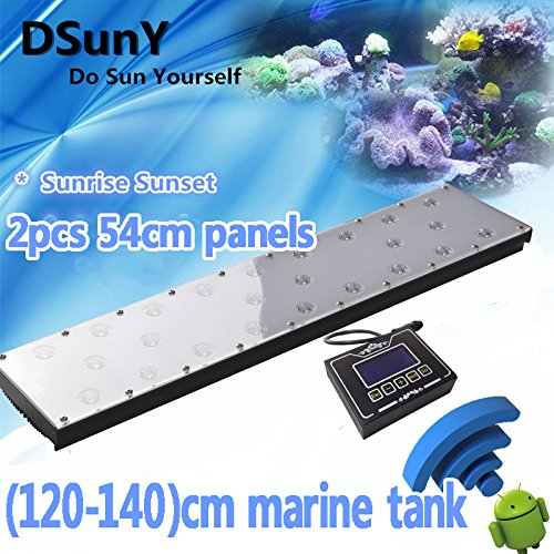 48  LED Aquarium Light for Marine Tank 4 Channels Dimmable Programmable WiFi (Only for Android Phone) Aquarium Led Light Sunrise Sunset Lunar Cycle with 8 Time Points Program