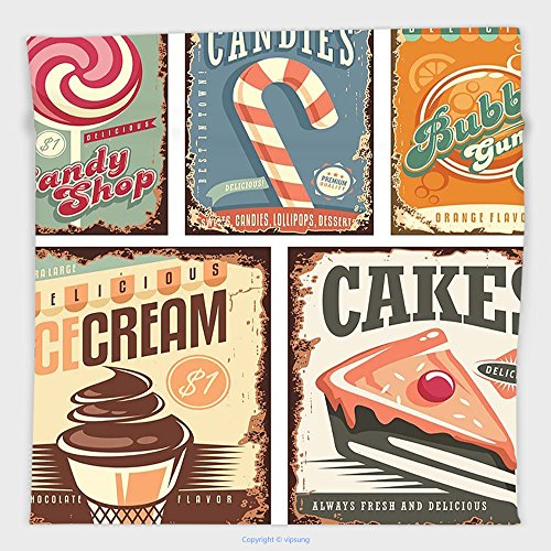 Vipsung Microfiber Ultra Soft Hand Towel-Vintage Decor Nostalgic 50S Sweet Candy Store Label And Ice Cream And Cake Bubble Gum Image Multi For Hotel Spa Beach Pool Bath
