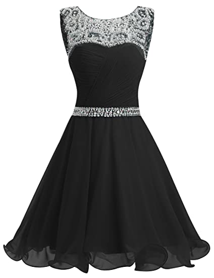 Dresstells reg; Short Chiffon Open Back Prom Dress with Beading Evening  Party Dress Black Size