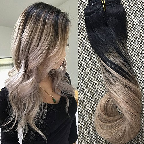 Full Shine 14 inch 10 Pcs 120Gram Double Wefted Clip in Human Hair Extensions Thick in Remy Hair Extensions Balayage Remy Ombre Hair Color #1B Fading to #18 Ash Blonde Pastel Hair Extensions Remy Hair