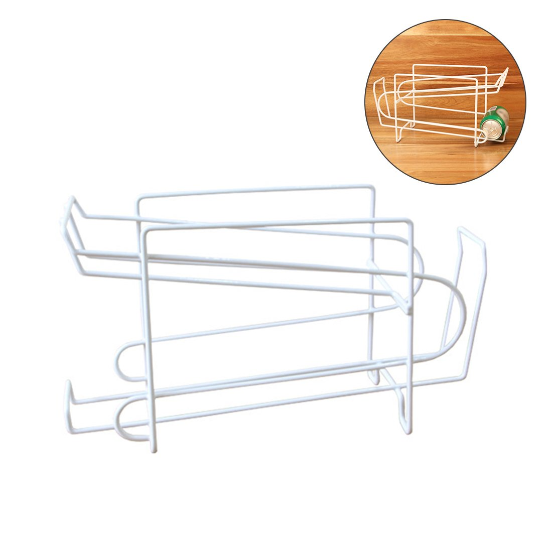 Soda Beer Can Beverage Dispenser Organizer Space Saving Rack Double Layers Sturdy Iron Fridge Shelf Refrigerator Stand Kitchen Fridge Pantry Art Space Saving Tools