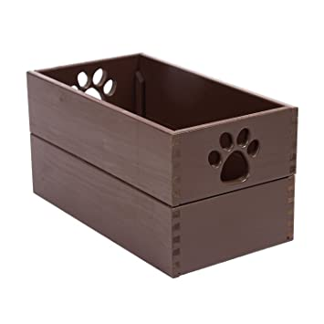 Dynamics Home Indoor Wooden Dog Essential Doll Storage Bin Organizer Pet  Toy Box Mahogany