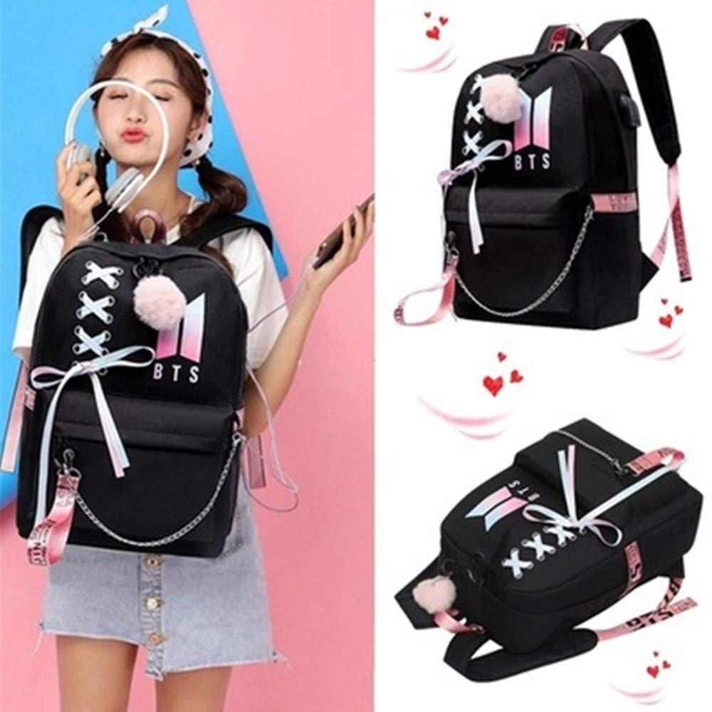 USAMYNA Teens School Backpack for Women College Girls BTS Bookbag USB Charging and HeadsetPort Laptop Backpack Student Daypack A