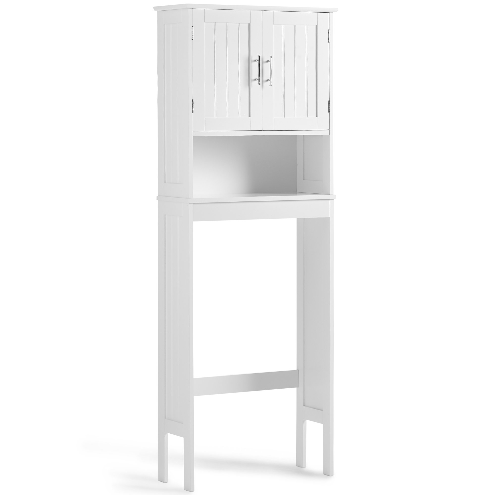 VonHaus Etagere Bathroom Cabinet Over the Toilet Storage Unit - Classic White Furniture with Chrome Handles (Includes All Hardware)