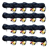 VideoSecu 16 Pack 100ft HD Security Camera Cables Pre-made All-in-One BNC Audio Video Power Extension Wire Cord with BNC RCA Connectors for 720P 960P 1080P 960H CCTV Surveillance DVR System WUQ