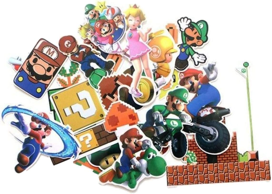 Video Game Themed Super Mario 29 Piece Sticker Decal Set for Kids Adults - Laptop Motorcycle Skateboard Decals