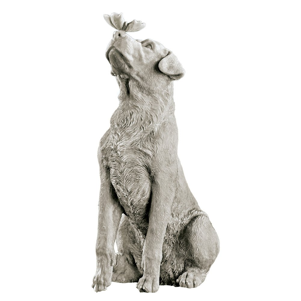 Collections Etc Dog and Butterfly Outdoor Animal Garden Statue Decoration