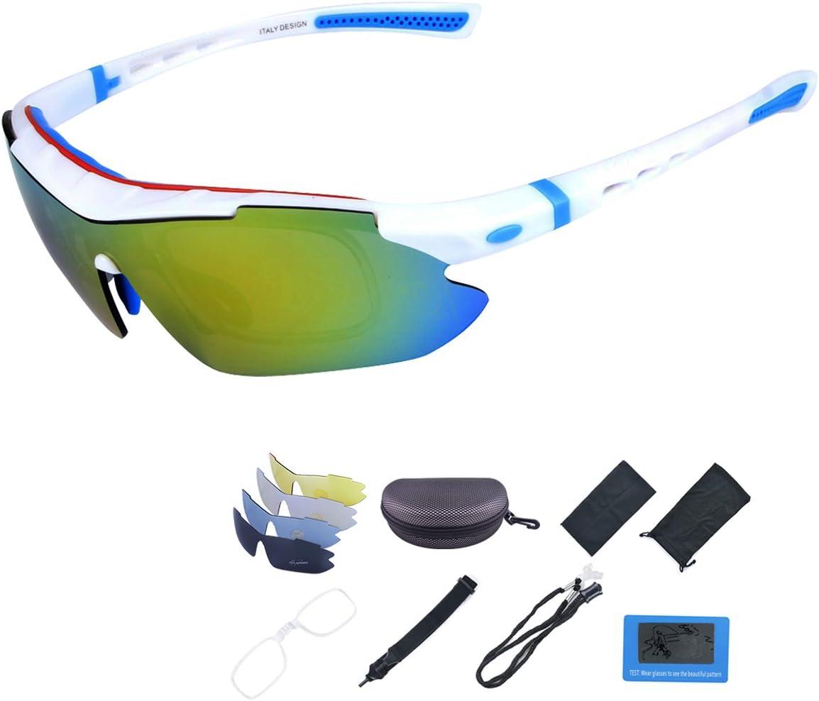 ShareWe Gafas de Ciclismo Unisex Gafas de Sol de Deportivas Polarizadas 5 Lentes Intercambiables para Deporte y Aire Libre Ciclismo Conducir Pesca Ski Esquiar Golf Correr (Blanco + Azul)