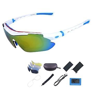 ShareWe Gafas de Ciclismo Unisex Gafas de Sol de Deportivas Polarizadas 5 Lentes Intercambiables para Deporte