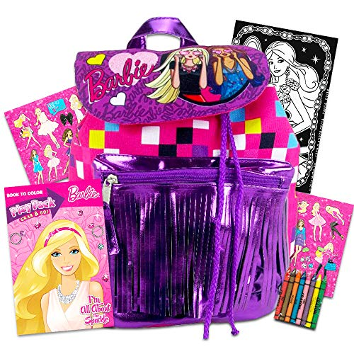 Barbie Mini Flap Drawstring Backpack with Front -