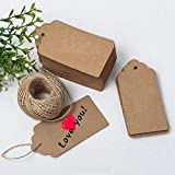 Crazy Night DIY Kraft Paper Gift Tags with String Wedding Brown Rectangle Craft Hang Tags Bonbonniere Favor Gift Tags with Jute Twine 100 Meters Long for Crafts & Price Tags Labels