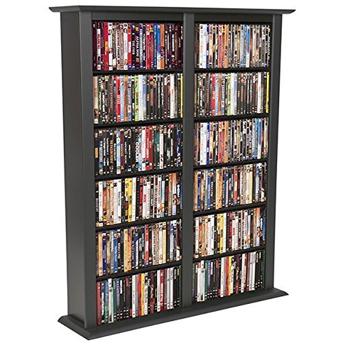 Venture Horizon Media Storage Tower-Regular Double- Black