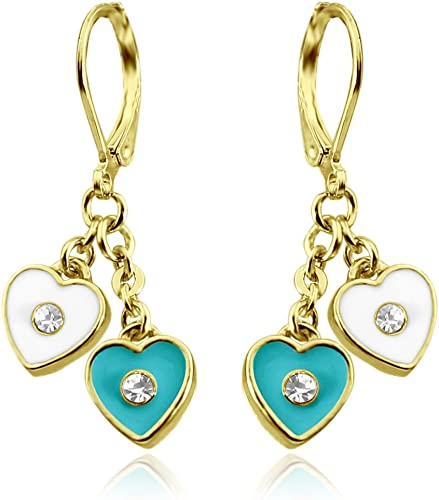 Heart Earrings For Women Gold Plated Dangle Earrings - Heart Hoop Earrings For Women Heart Earrings For Teens Quality Fashion Jewelry Earrings For Mom For Mothers Day Gifts Secure Leverback Earrings