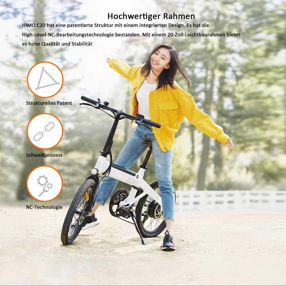 HIMO C20 Bicicleta eléctrica con manillar plegable, faros, 250 W, 10 Ah, 80 km de potencia, 3 modos, bicicleta eléctrica con tracción para adultos
