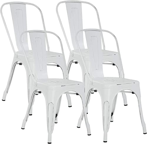 Metal Chair Dining Chairs Set of 4 Patio Chair 18 Inches Seat Height Dining Room Kitchen Chair Tolix Restaurant Chairs Trattoria Bar Stackable Chairs Metal Indoor Outdoor Chair,White