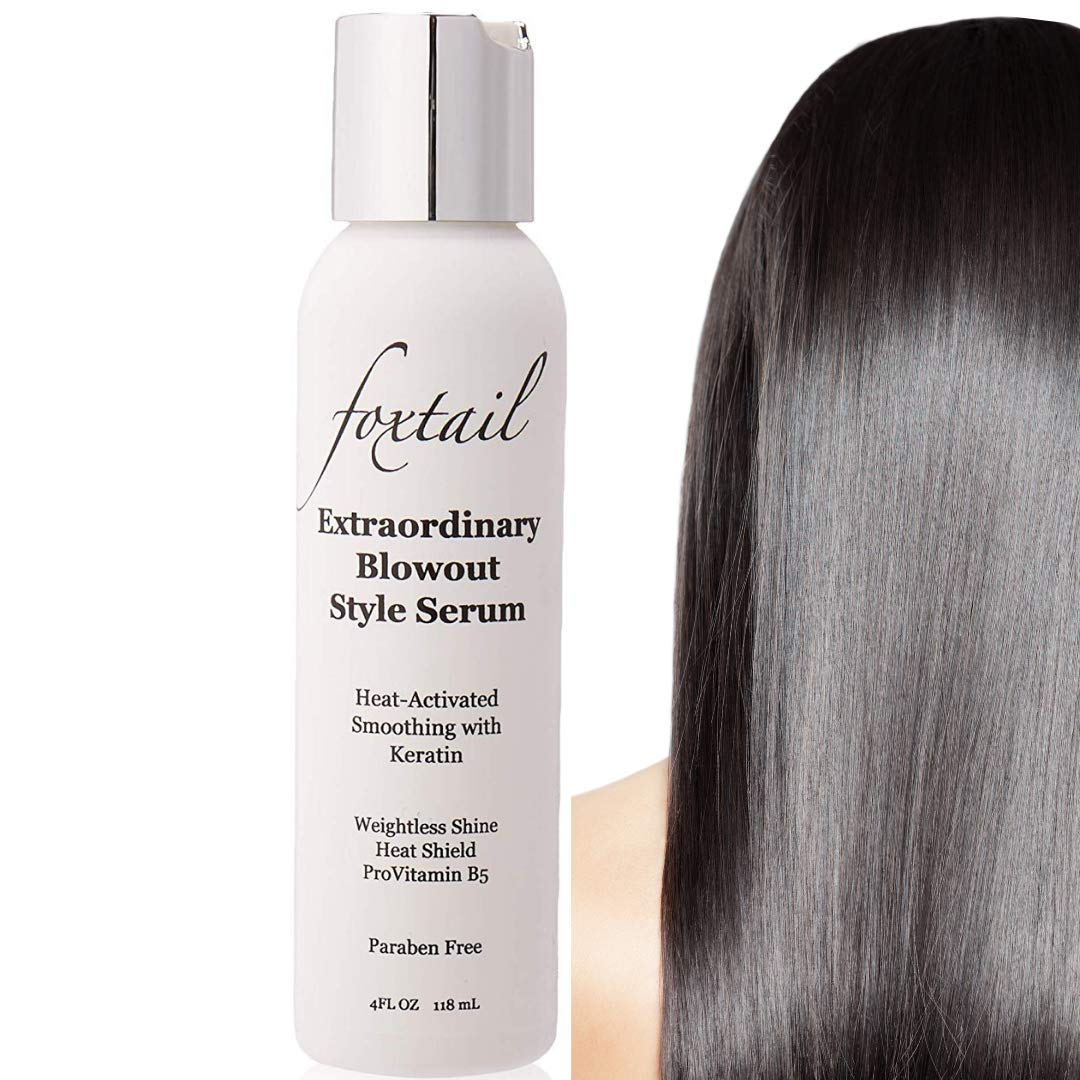 FOXTAIL Extraordinary Blowout Leave-In Hair Serum - Keratin Infused Hair Serum, Heat Activated Smoothing Anti-Frizz Formula with ProVitamin B5, Protect Color & Resist Humidity, Paraben Free, 4 Fl Oz