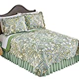 Collections Olivia Paisley Green Reversible Quilt with Scalloped Edges, Green, Full/Queen