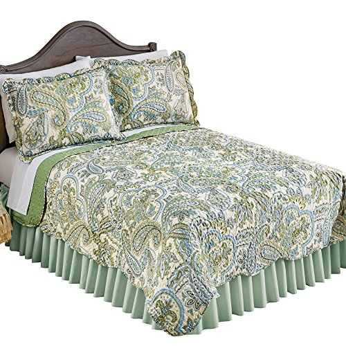 (Collections Olivia Paisley Green Reversible Quilt with Scalloped Edges, Green, King)